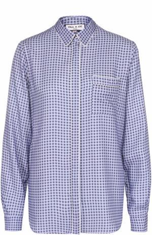 Блуза прямого кроя с принтом и накладным карманом Paul&Joe. Цвет: сиреневый