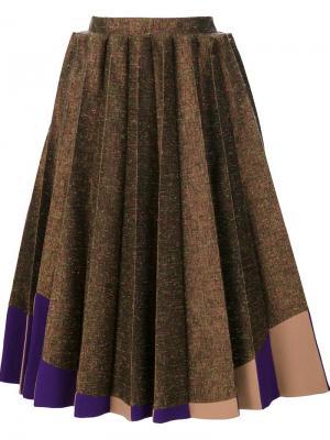 Плиссированная юбка миди Delpozo. Цвет: коричневый
