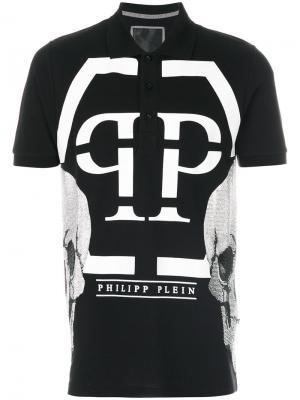 Рубашка-поло с принтом логотипом Philipp Plein. Цвет: чёрный