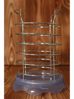 Сушилка для столовых приборов с поддоном , металл, пластик, d13х11см, 3 цвета, АЕ-419 Vetta. Цвет: синий