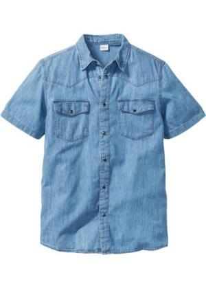 Джинсовая рубашка зауженного покроя (синий) bonprix. Цвет: синий