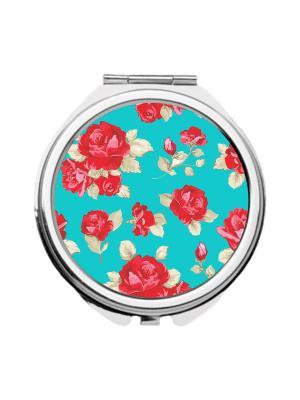 Зеркальце карманное Розы на бирюзовом Chocopony. Цвет: синий, красный, малиновый