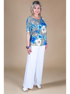 Блуза Милада. Цвет: синий, бежевый