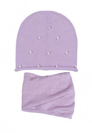 Комплект шапка и шарф FreeSpirit. Цвет: фиолетовый