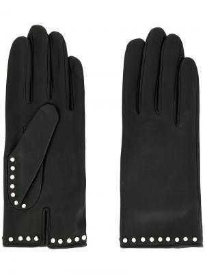 Перчатки с заклепками Agnelle. Цвет: чёрный