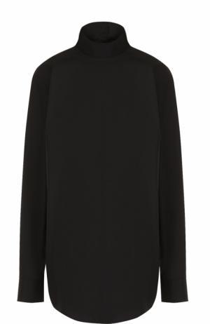 Хлопковая блуза с длинным рукавом и воротником-стойкой Dries Van Noten. Цвет: черный