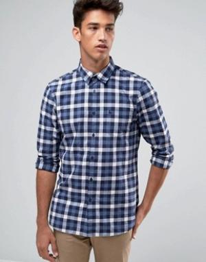Jack Wills Темно-синяя поплиновая рубашка классического кроя в клетку. Цвет: темно-синий