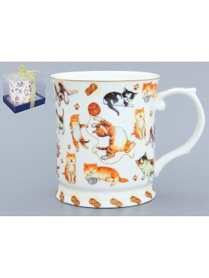 Кружка Веселые кошечки Elan Gallery. Цвет: белый, черный, оранжевый