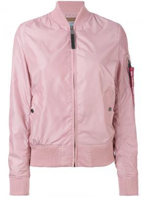 Куртка-бомбер на молнии Alpha Industries. Цвет: розовый и фиолетовый