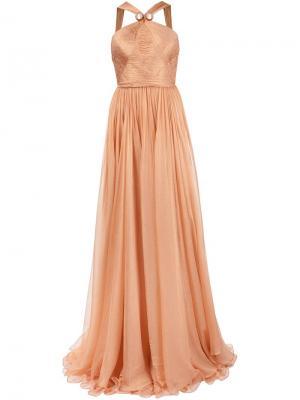 Вечернее платье в пол Maria Lucia Hohan. Цвет: жёлтый и оранжевый