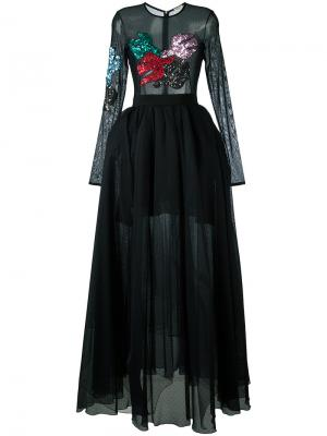 Embellished sheer maxi dress Daniele Carlotta. Цвет: чёрный