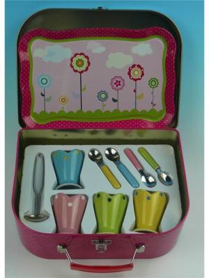Игровой набор посудки для мороженого Я сама 1Toy. Цвет: малиновый