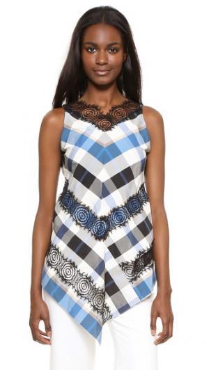 Кружевная блуза Rosette с подолом в виде платка Wes Gordon. Цвет: голубой