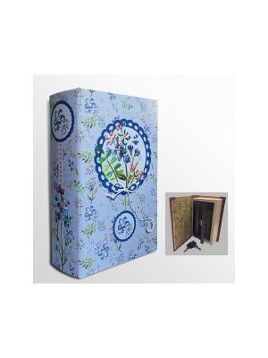 Шкатулка-сейф Цветочки арт.39510 (17*11*5см,из МДФ  с дверцей из черного металла) Magic Home. Цвет: белый, голубой