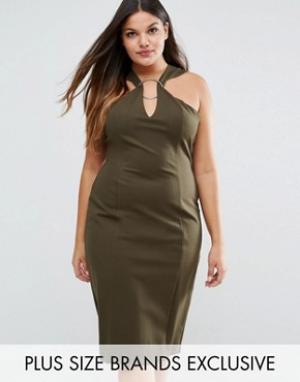 Lavish Alice Plus Платье миди с металлическим кольцом. Цвет: зеленый
