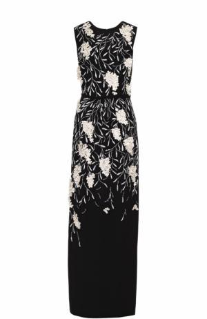 Шелковое платье-макси с контрастной фактурной отделкой Oscar de la Renta. Цвет: черно-белый