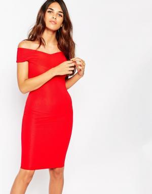 Lipstick Boutique Платье с открытыми плечами Ava. Цвет: красный