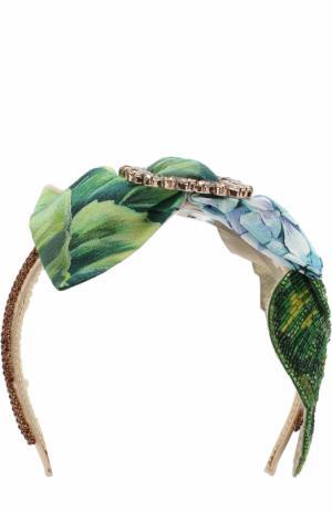 Ободок с декором и отделкой из бисера Dolce & Gabbana. Цвет: зеленый