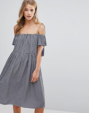 Little White Lies Платье с открытыми плечами Francoise. Цвет: синий