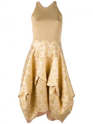 Расклешенное платье с вышивкой Antonio Berardi. Цвет: телесный