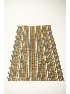 Салфетка плетеная ПВХ, 30х45см, Полосы, 4 цвета KONONO. Цвет: желтый