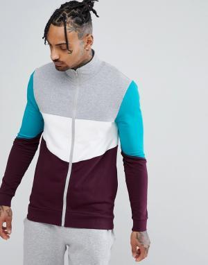 ASOS Обтягивающая спортивная куртка с контрастной отделкой. Цвет: серый