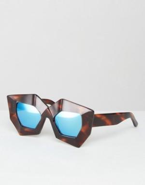 House of Holland Солнцезащитные очки с синими зеркальными стеклами Sup. Цвет: черный