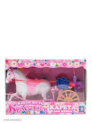 Карета для кукол Красотка (1-местная, с лошадью) 1Toy. Цвет: розовый, белый, фиолетовый