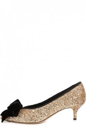 Туфли Emma с блестками и бантом Aleksandersiradekian. Цвет: золотой