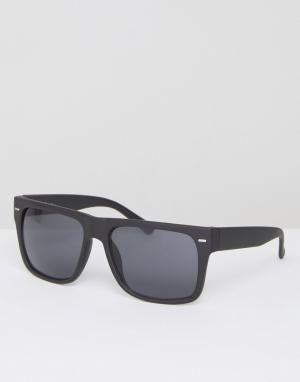 Jeepers Peepers Черные солнцезащитные очки с плоским верхом. Цвет: черный
