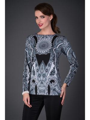 Блузка Арт-Деко. Цвет: серый, черный