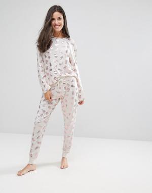 Chelsea Peers Пижамный комплект с принтом ананасов. Цвет: медный