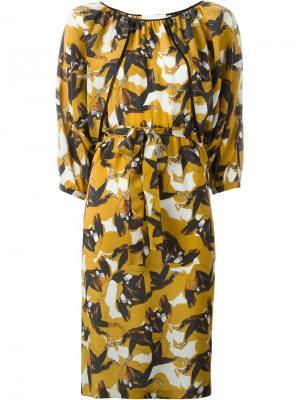 Платье с абстрактным принтом LAutre Chose L'Autre. Цвет: жёлтый и оранжевый