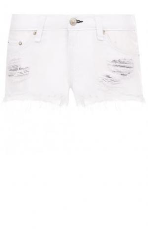 Джинсовые мини-шорты с потертостями Rag&Bone. Цвет: белый