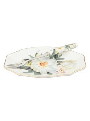 Тарелочка под лимон Белый шиповник с вилкой Elan Gallery. Цвет: белый, зеленый
