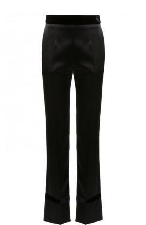 Укороченные однотонные брюки с бархатным поясом Lanvin. Цвет: черный