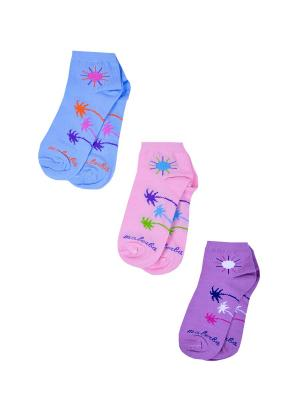 Носки женские,комплект 3шт Malerba. Цвет: голубой, розовый, сиреневый