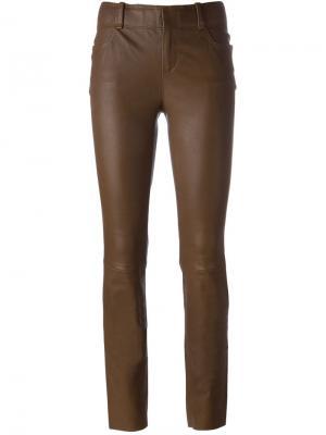Кожаные брюки кроя скинни Stouls. Цвет: коричневый