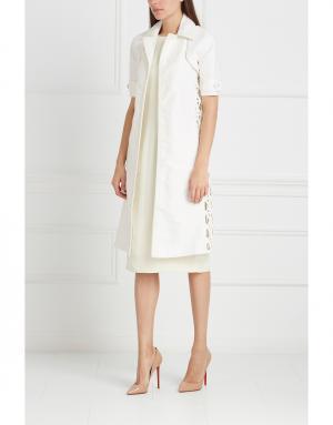 Пальто из кожи и хлопка J. Mendel. Цвет: белый