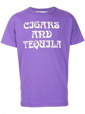 Футболка Art Dad Cigars and Tequila Off-White. Цвет: розовый и фиолетовый