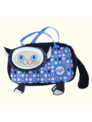 Детская сумочка путешественница Кошка, Malvina. Цвет: синий, сиреневый, черный