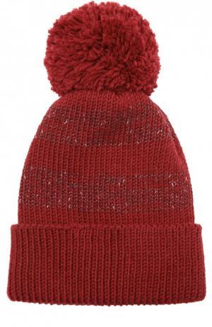 Шерстяная шапка с помпоном 7II. Цвет: бордовый