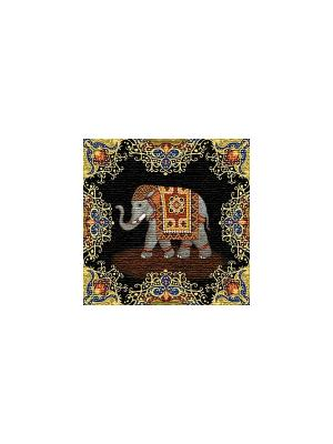 Гобеленовая наволочка ИНДИЙСКИЙ СЛОН(удача)  50х50 см Рапира. Цвет: черный