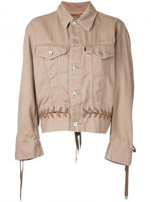 Джинсовая куртка со шнуровкой G.V.G.V.. Цвет: коричневый