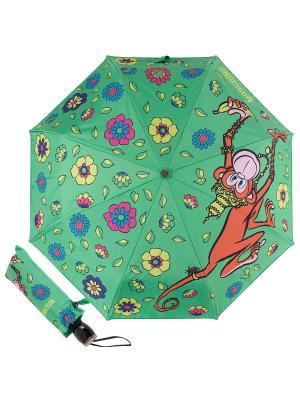 Зонт складной Moschino 8261-OCM Cartoon Monkey Green Multi. Цвет: светло-зеленый, желтый, рыжий