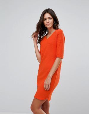 B.Young Платье с V-образным вырезом. Цвет: оранжевый