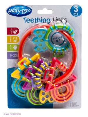 Погремушка-прорезыватель Волшебные кольца Playgro. Цвет: оранжевый, зеленый, голубой, фиолетовый, фуксия