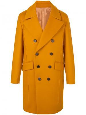 Двубортное пальто с широкими лацканами Wooyoungmi. Цвет: жёлтый и оранжевый