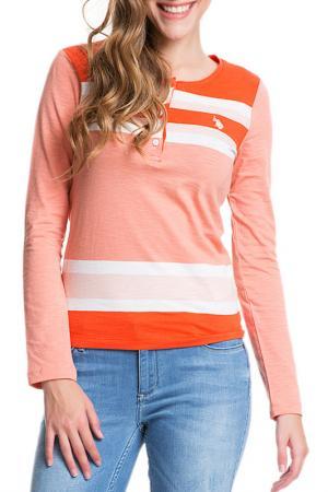 Поло-лонгслив U.S. Polo Assn.. Цвет: оранжевый