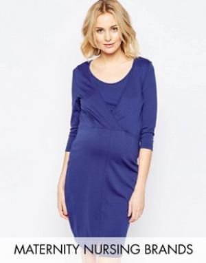 Mama.licious Трикотажное платье с запахом для беременных Mamalicious. Цвет: синий